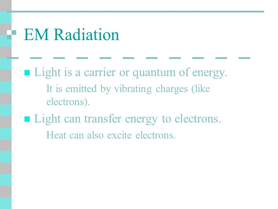 EM Radiation Light is a carrier or quantum of energy.