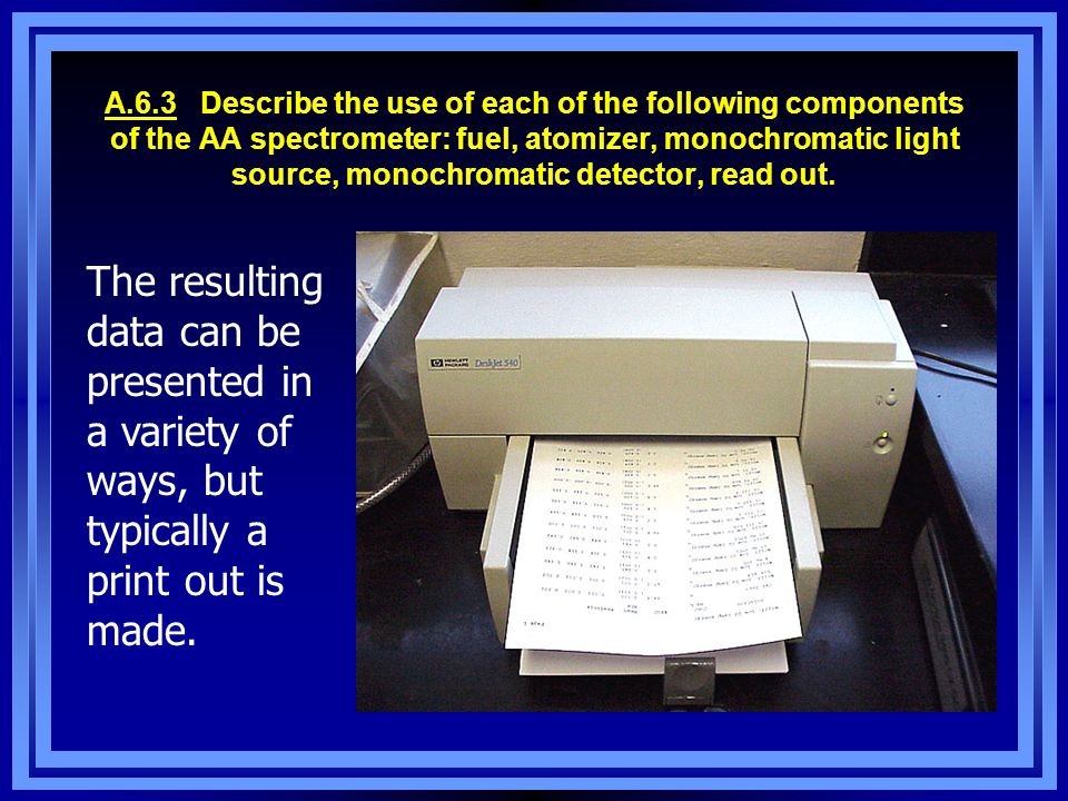 A.6.3 Describe the use of each of the following components of the AA spectrometer: fuel, atomizer, monochromatic light source, monochromatic detector, read out.
