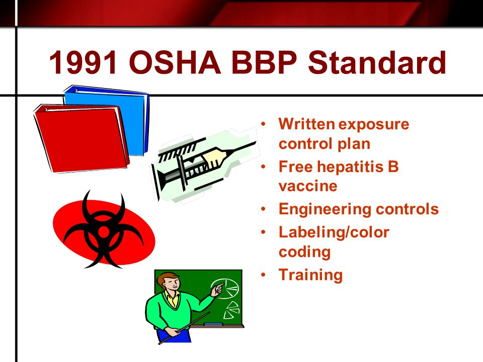 1991 OSHA BBP Standard Written exposure control plan Free hepatitis B vaccine Engineering controls Labeling/color coding Training