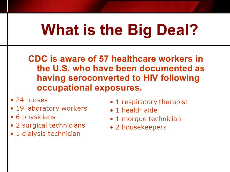What is the Big Deal. CDC is aware of 57 healthcare workers in the U.S.