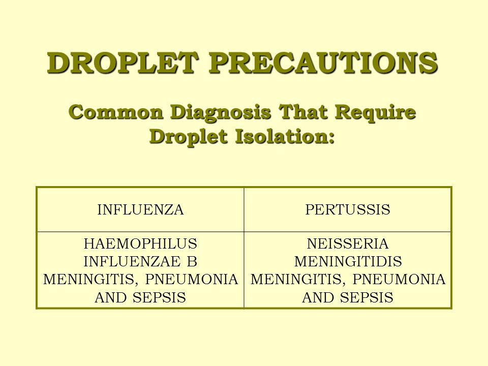 DROPLET PRECAUTIONS This category is used to prevent the spread of large particles that can be created by certain medical procedures or by coughing, sneezing, or talking.