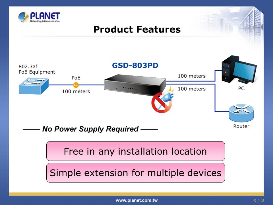 9 / 18 Product Features Free in any installation location Simple extension for multiple devices