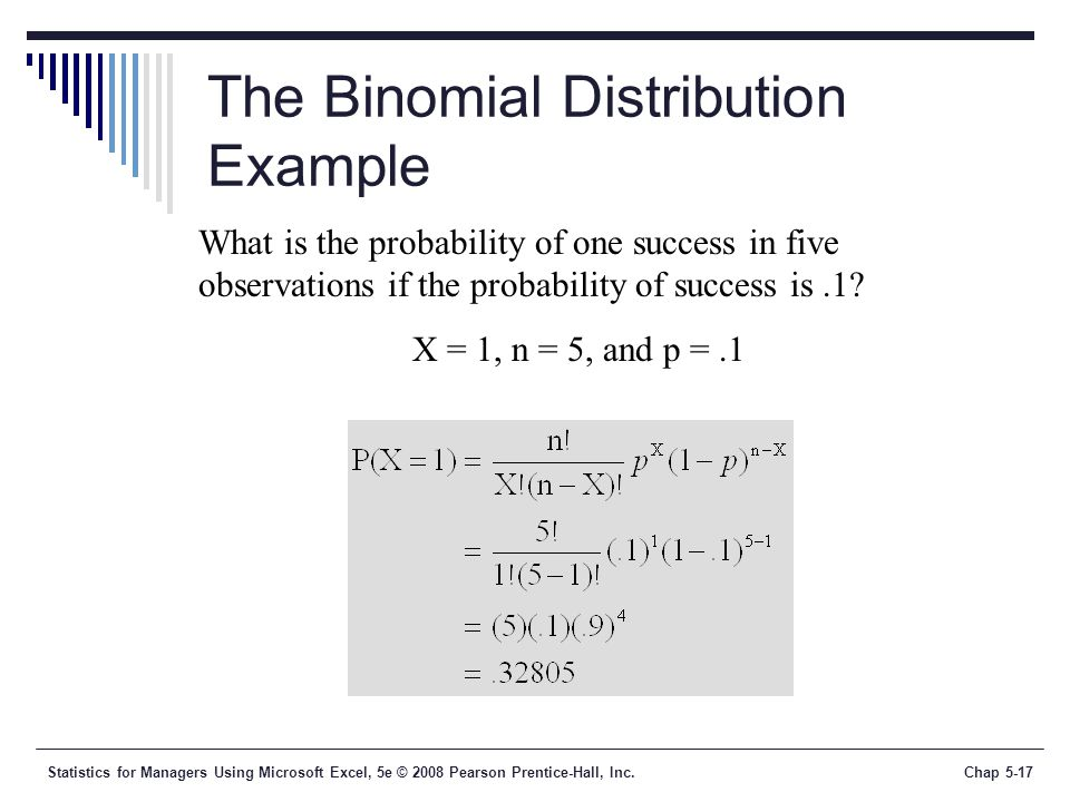 Statistics for Managers Using Microsoft Excel, 5e © 2008 Pearson Prentice-Hall, Inc.Chap 5-17 The Binomial Distribution Example What is the probability of one success in five observations if the probability of success is.1.