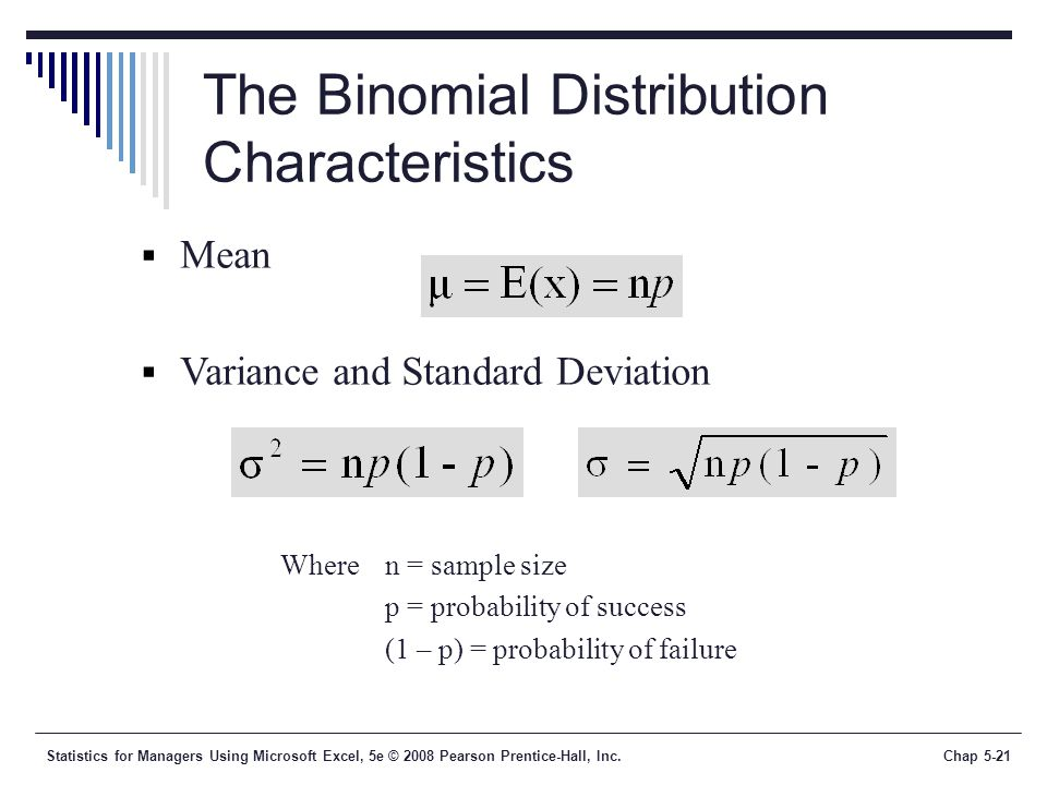 Statistics for Managers Using Microsoft Excel, 5e © 2008 Pearson Prentice-Hall, Inc.Chap 5-21 The Binomial Distribution Characteristics  Mean  Variance and Standard Deviation Wheren = sample size p = probability of success (1 – p) = probability of failure