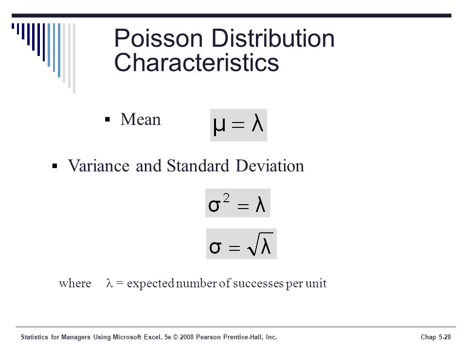 Statistics for Managers Using Microsoft Excel, 5e © 2008 Pearson Prentice-Hall, Inc.Chap 5-28 Poisson Distribution Characteristics  Mean  Variance and Standard Deviation where = expected number of successes per unit