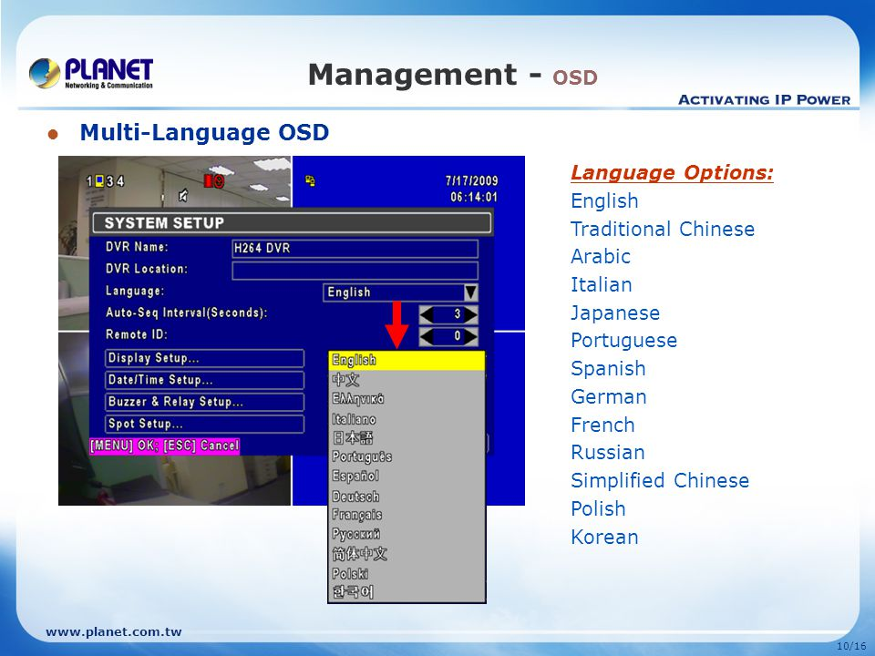 10/16 Management - OSD Multi-Language OSD Language Options: English Traditional Chinese Arabic Italian Japanese Portuguese Spanish German French Russian Simplified Chinese Polish Korean