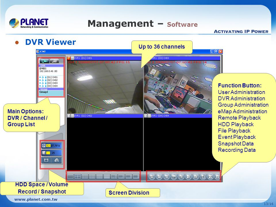 13/16 Management – Software DVR Viewer Screen Division Main Options: DVR / Channel / Group List HDD Space / Volume Record / Snapshot Function Button: User Administration DVR Administration Group Administration eMap Administration Remote Playback HDD Playback File Playback Event Playback Snapshot Data Recording Data Up to 36 channels