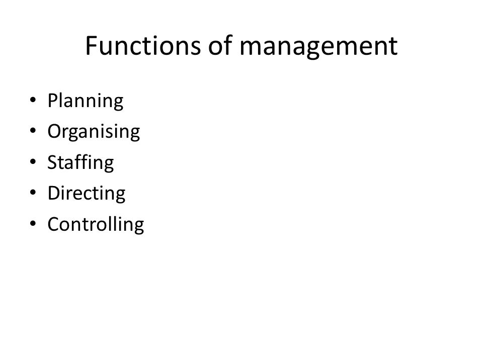 Functions of management Planning Organising Staffing Directing Controlling