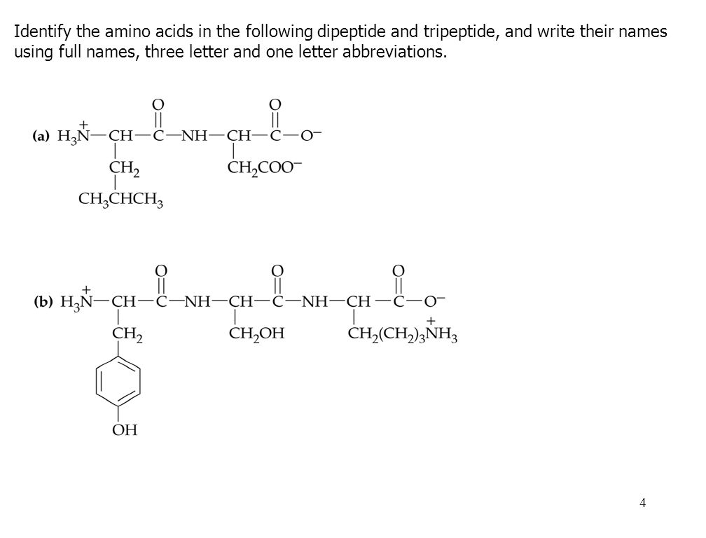 1 peptide bond amino acids link together through covalent bonds 4 4 identify the amino acids in the following dipeptide and tripeptide and write their names using full names three letter and one letter abbreviations thecheapjerseys Images