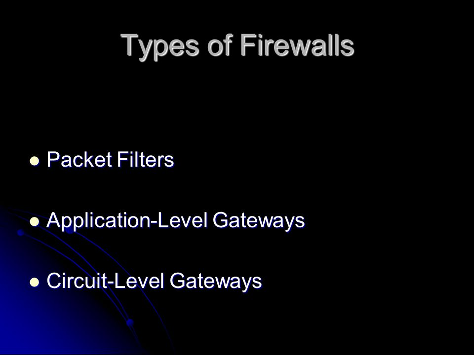 Types of Firewalls Packet Filters Packet Filters Application-Level Gateways Application-Level Gateways Circuit-Level Gateways Circuit-Level Gateways