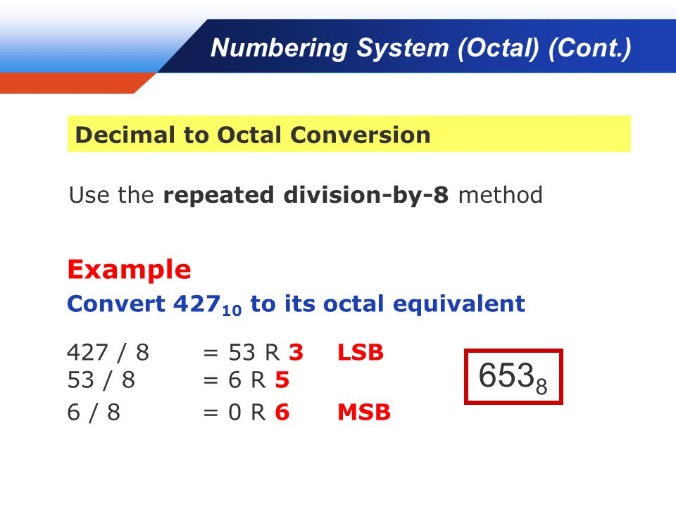 Company LOGO Use the repeated division-by-8 method Example Convert 427 10 to its octal equivalent 427 / 8 = 53 R 3LSB 53 / 8= 6 R 5 6 / 8 = 0 R 6MSB 653 8 Numbering System (Octal) (Cont.) Decimal to Octal Conversion