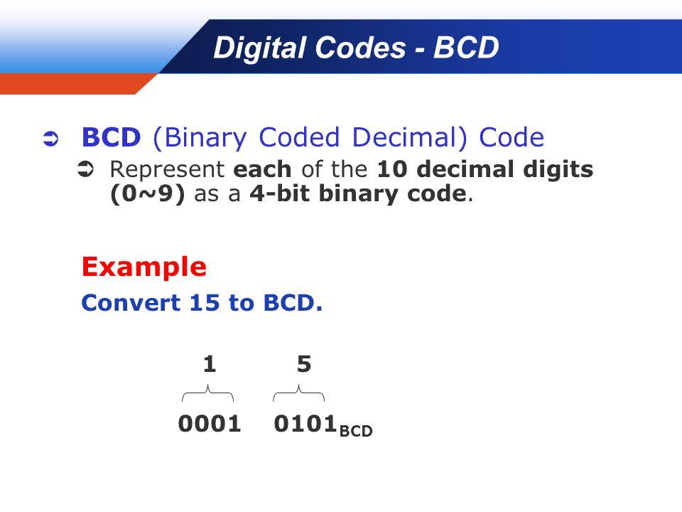 Company LOGO Digital Codes - BCD  BCD (Binary Coded Decimal) Code  Represent each of the 10 decimal digits (0~9) as a 4-bit binary code.