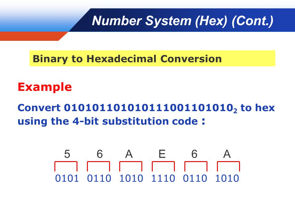 Company LOGO Example Convert 010101101010111001101010 2 to hex using the 4-bit substitution code : 0101 0110 1010 1110 0110 1010 5 6 A E 6 A Binary to Hexadecimal Conversion Number System (Hex) (Cont.)