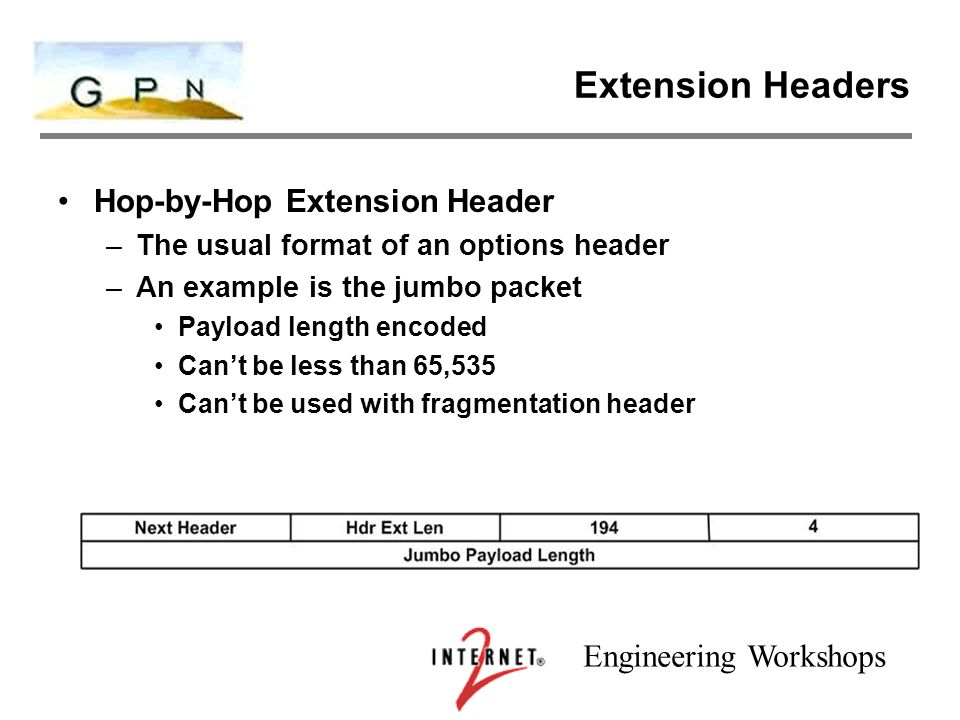Engineering Workshops Extension Headers Hop-by-Hop Extension Header –The usual format of an options header –An example is the jumbo packet Payload length encoded Can't be less than 65,535 Can't be used with fragmentation header