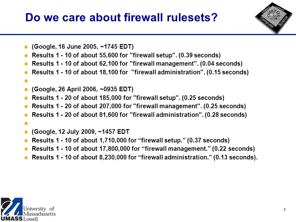 3 Do we care about firewall rulesets.