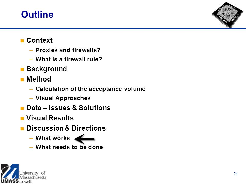 74 Outline n Context –Proxies and firewalls. –What is a firewall rule.