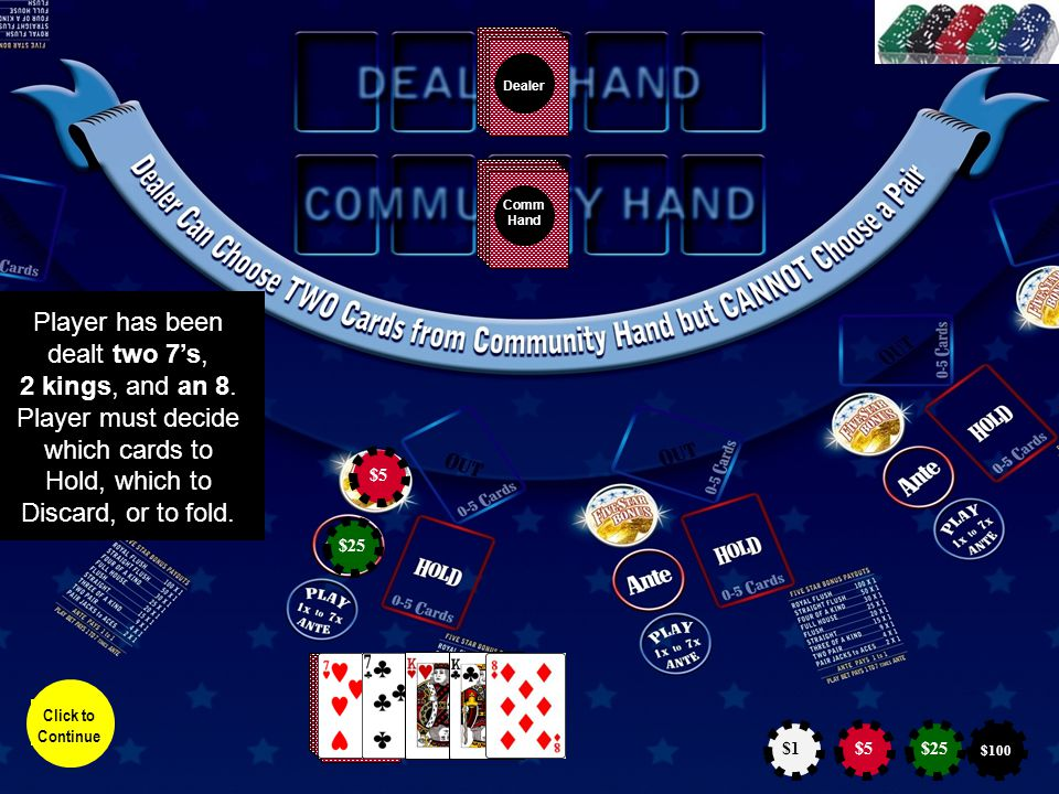Dealer Comm Hand Player picks up his hand and views the cards.
