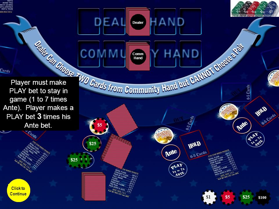 Dealer Comm Hand Player can discard from 0 to 5 cards.