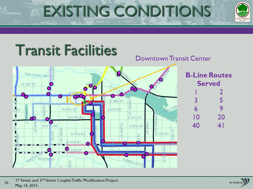 Transit Facilities 1 st Street and 2 nd Street Couplet Traffic Modification Project May 14, EXISTING CONDITIONS Downtown Transit Center B-Line Routes Served