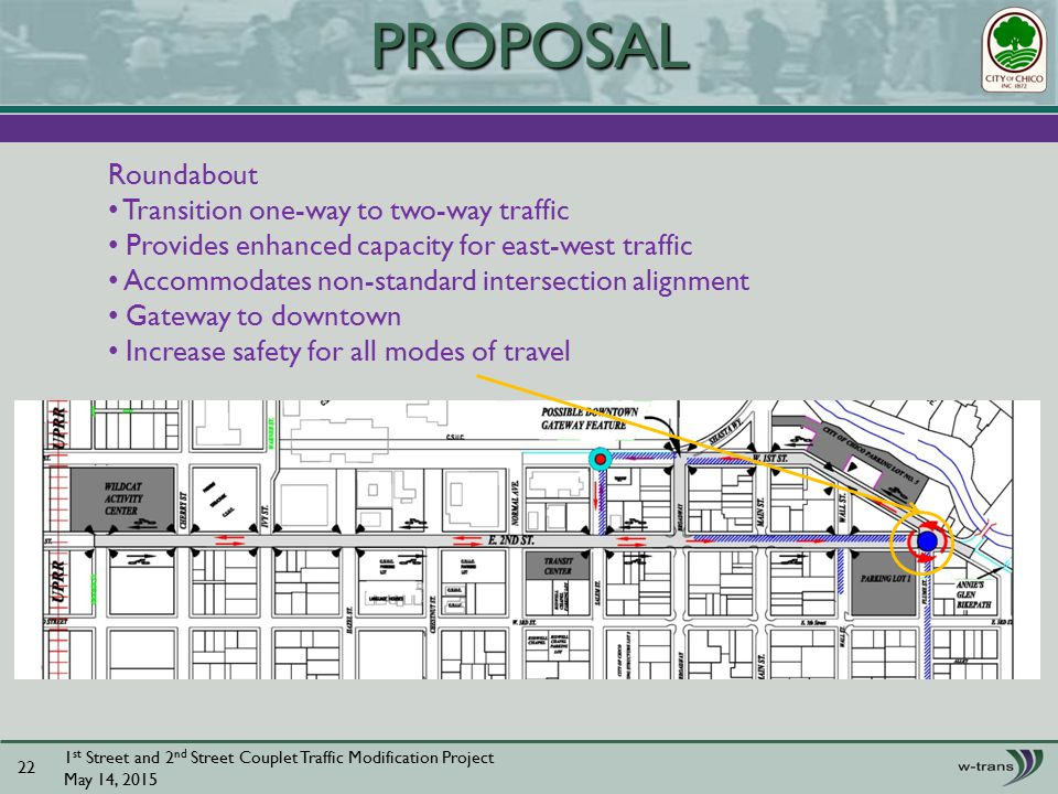 1 st Street and 2 nd Street Couplet Traffic Modification Project May 14, PROPOSAL Roundabout Transition one-way to two-way traffic Provides enhanced capacity for east-west traffic Accommodates non-standard intersection alignment Gateway to downtown Increase safety for all modes of travel