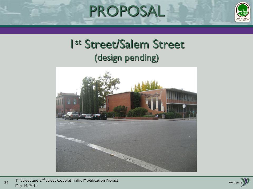 1 st Street/Salem Street (design pending) 1 st Street and 2 nd Street Couplet Traffic Modification Project May 14, PROPOSAL