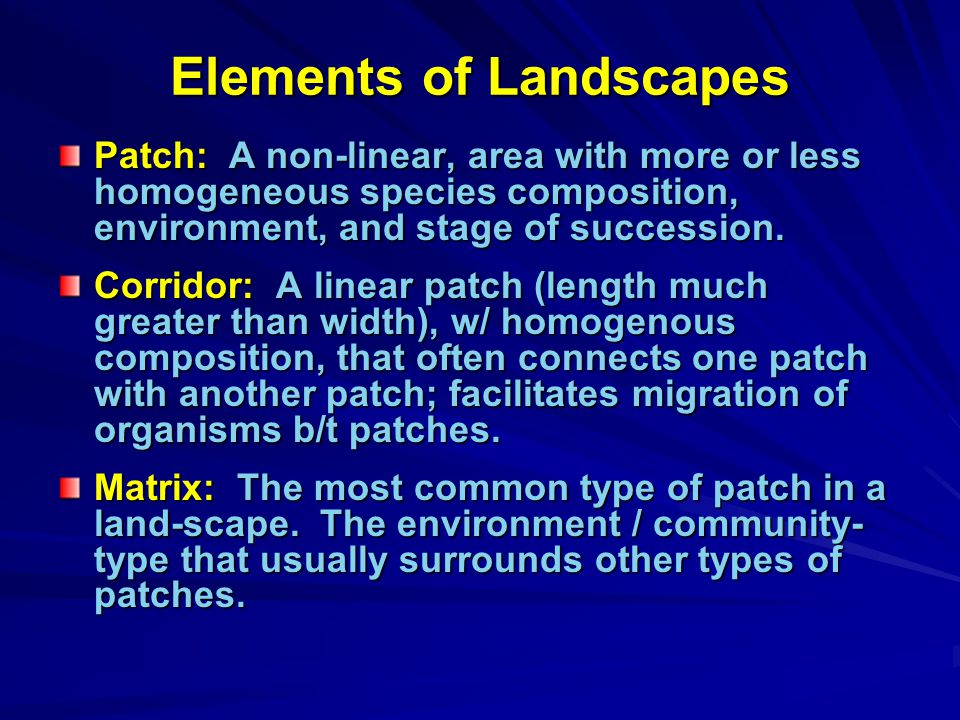 Elements of Landscapes Patch: A non-linear, area with more or less homogeneous species composition, environment, and stage of succession.