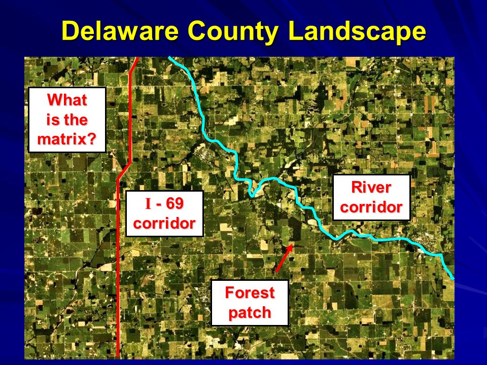 Delaware County Landscape What is the matrix Forestpatch Rivercorridor I - 69 corridor