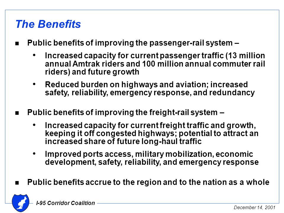 I-95 Corridor Coalition December 14, 2001 The Benefits n Public benefits of improving the passenger-rail system – Increased capacity for current passenger traffic (13 million annual Amtrak riders and 100 million annual commuter rail riders) and future growth Reduced burden on highways and aviation; increased safety, reliability, emergency response, and redundancy n Public benefits of improving the freight-rail system – Increased capacity for current freight traffic and growth, keeping it off congested highways; potential to attract an increased share of future long-haul traffic Improved ports access, military mobilization, economic development, safety, reliability, and emergency response n Public benefits accrue to the region and to the nation as a whole