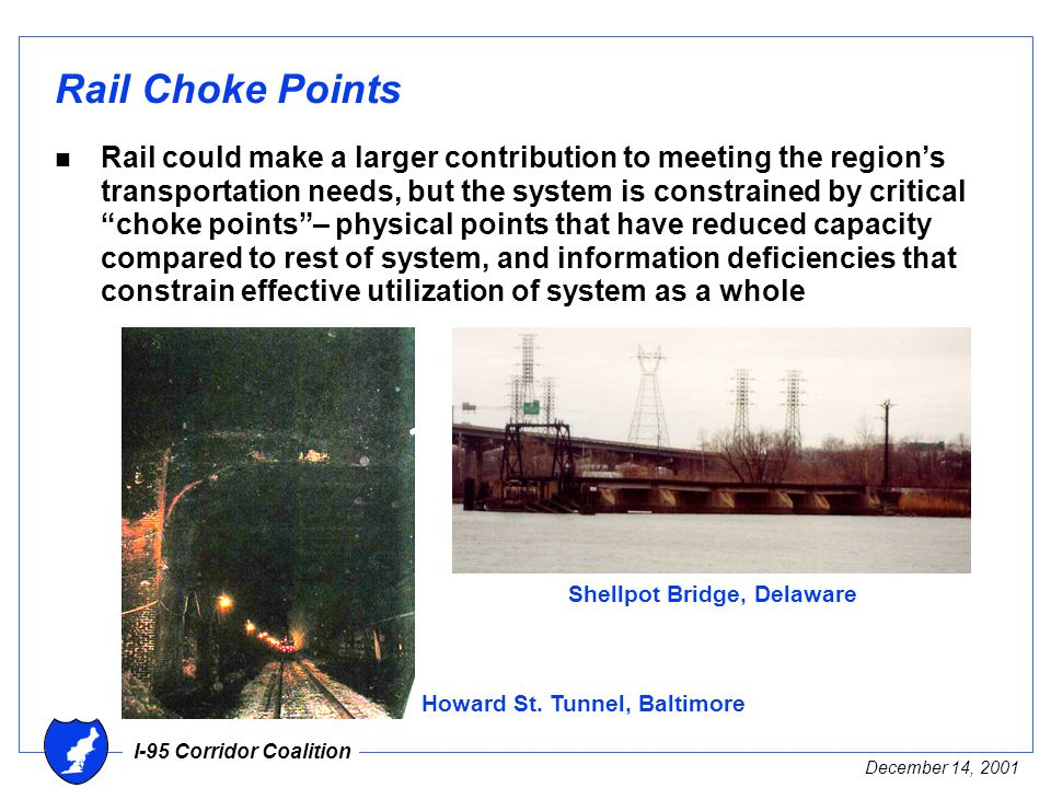 I-95 Corridor Coalition December 14, 2001 Rail Choke Points n Rail could make a larger contribution to meeting the region's transportation needs, but the system is constrained by critical choke points – physical points that have reduced capacity compared to rest of system, and information deficiencies that constrain effective utilization of system as a whole Howard St.