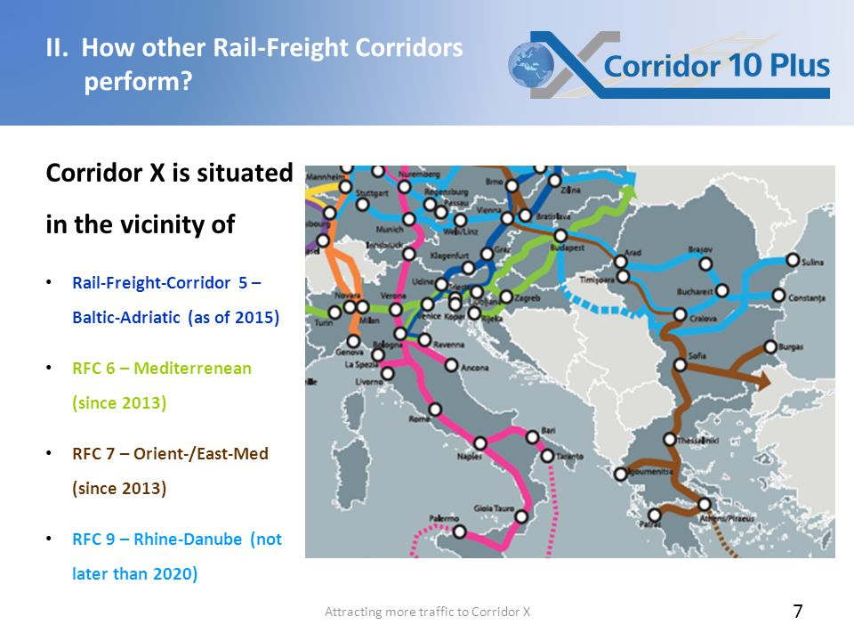 Attracting more traffic to Corridor X 7 Corridor X is situated in the vicinity of Rail-Freight-Corridor 5 – Baltic-Adriatic (as of 2015) RFC 6 – Mediterrenean (since 2013) RFC 7 – Orient-/East-Med (since 2013) RFC 9 – Rhine-Danube (not later than 2020) II.
