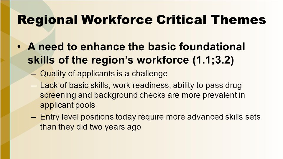 Regional Workforce Critical Themes A need to enhance the basic foundational skills of the region's workforce (1.1;3.2) –Quality of applicants is a challenge –Lack of basic skills, work readiness, ability to pass drug screening and background checks are more prevalent in applicant pools –Entry level positions today require more advanced skills sets than they did two years ago