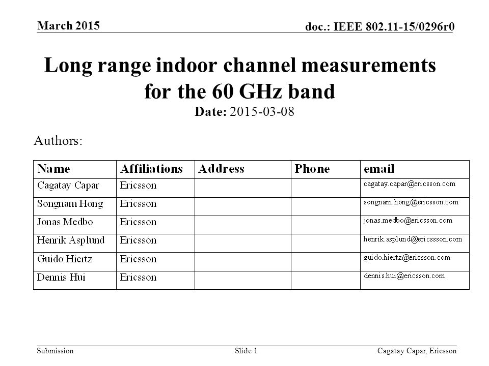 Submission doc.: IEEE /0296r0 March 2015 Cagatay Capar, EricssonSlide 1 Long range indoor channel measurements for the 60 GHz band Date: Authors: