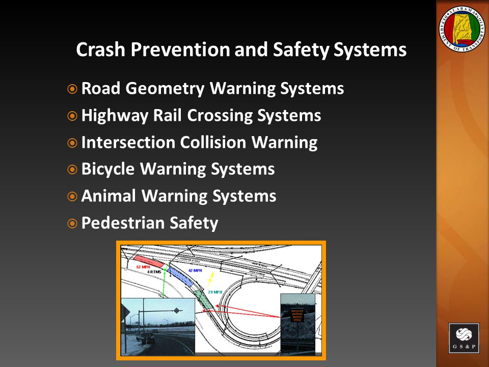  Road Geometry Warning Systems  Highway Rail Crossing Systems  Intersection Collision Warning  Bicycle Warning Systems  Animal Warning Systems  Pedestrian Safety Crash Prevention and Safety Systems