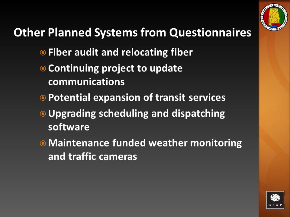  Fiber audit and relocating fiber  Continuing project to update communications  Potential expansion of transit services  Upgrading scheduling and dispatching software  Maintenance funded weather monitoring and traffic cameras Other Planned Systems from Questionnaires