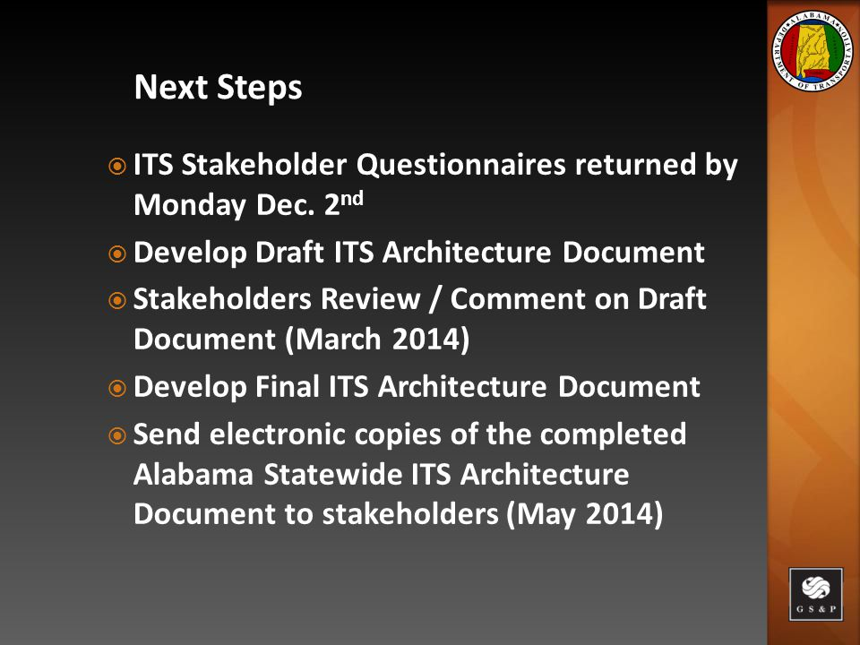 ITS Stakeholder Questionnaires returned by Monday Dec.