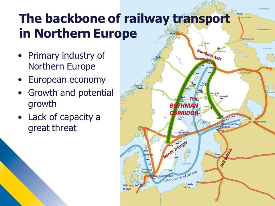 The backbone of railway transport in Northern Europe Primary industry of Northern Europe European economy Growth and potential growth Lack of capacity a great threat