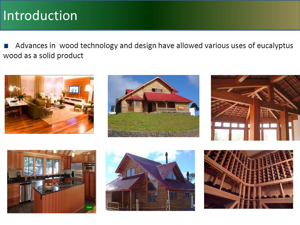 Introduction Advances in wood technology and design have allowed various uses of eucalyptus wood as a solid product