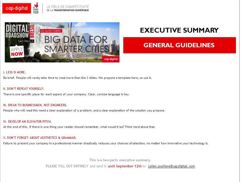 executive summary general guidelines i. less is more. be brief, Presentation templates