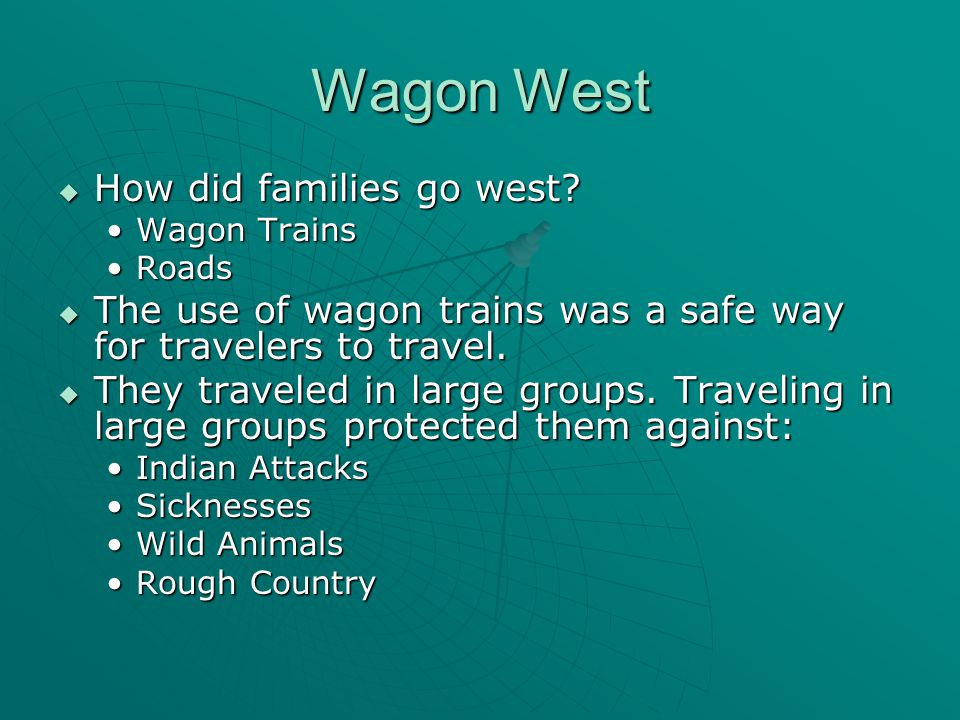 Wagon West  How did families go west.