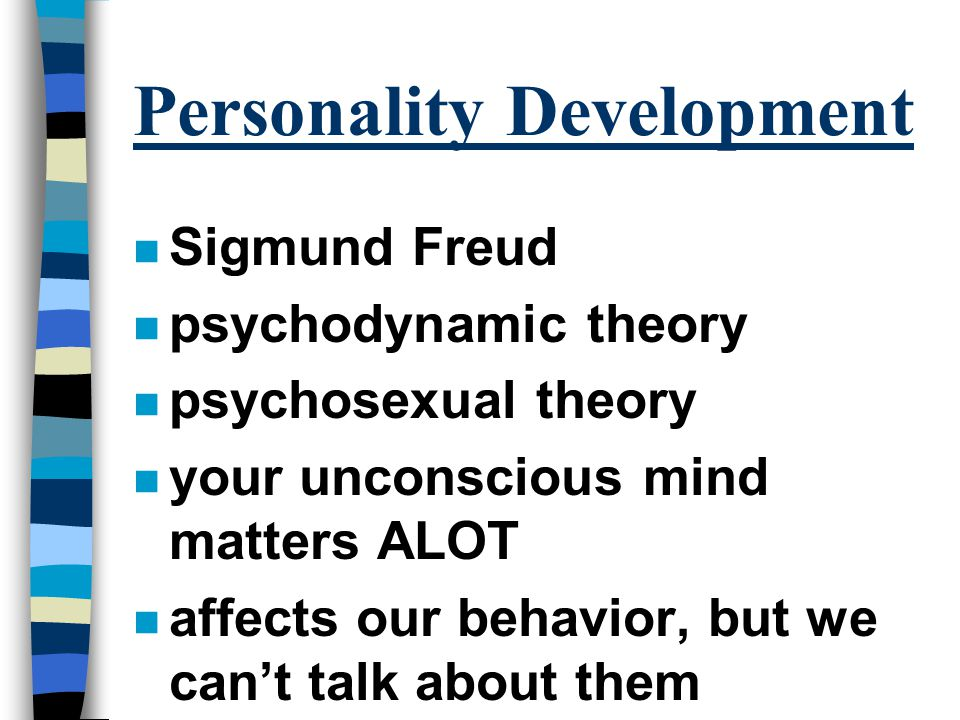 freuds theory of personality essay Summary-freud theory: the basis of freud's theory was the conscious mind, the preconscious mind, and the unconscious mind his study had much to do with many aspects of the conscious and unconscious states however, the major divisions included the conscious, preconscious, and the unconscious.