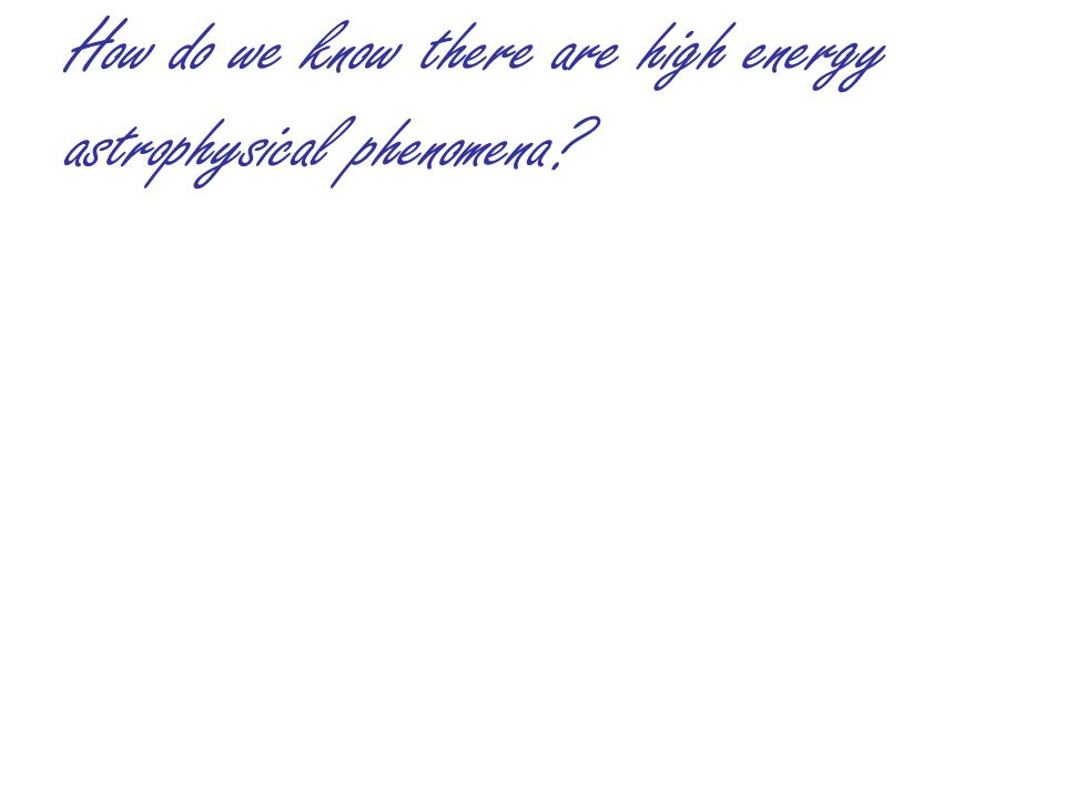 How do we know there are high energy astrophysical phenomena.