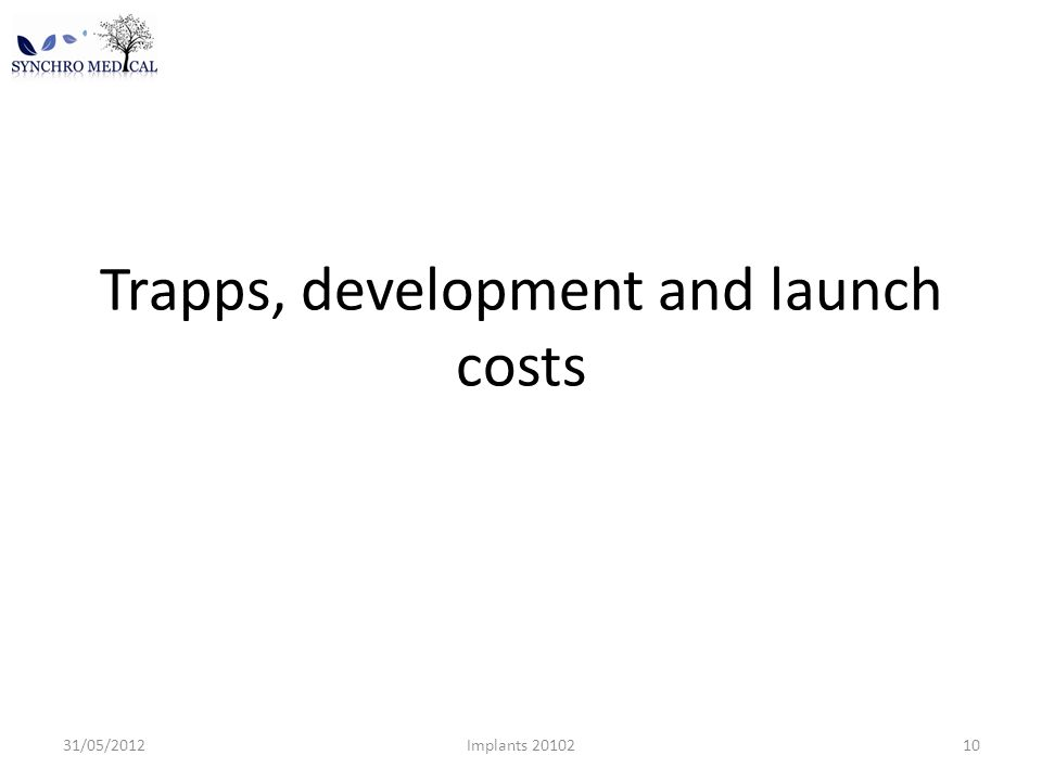 Trapps, development and launch costs 31/05/2012Implants 2010210