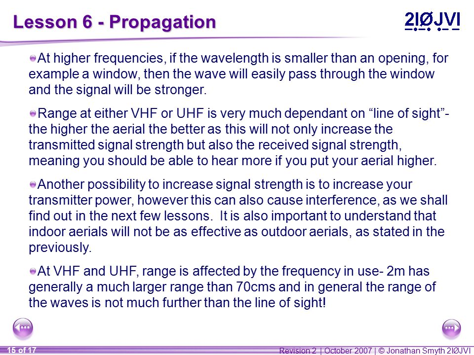 Revision 2 | October 2007 | © Jonathan Smyth 2IØJVI 15 of 17 Lesson 6 - Propagation At higher frequencies, if the wavelength is smaller than an opening, for example a window, then the wave will easily pass through the window and the signal will be stronger.