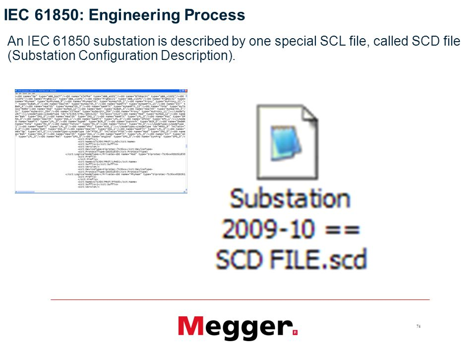 74 An IEC substation is described by one special SCL file, called SCD file (Substation Configuration Description).