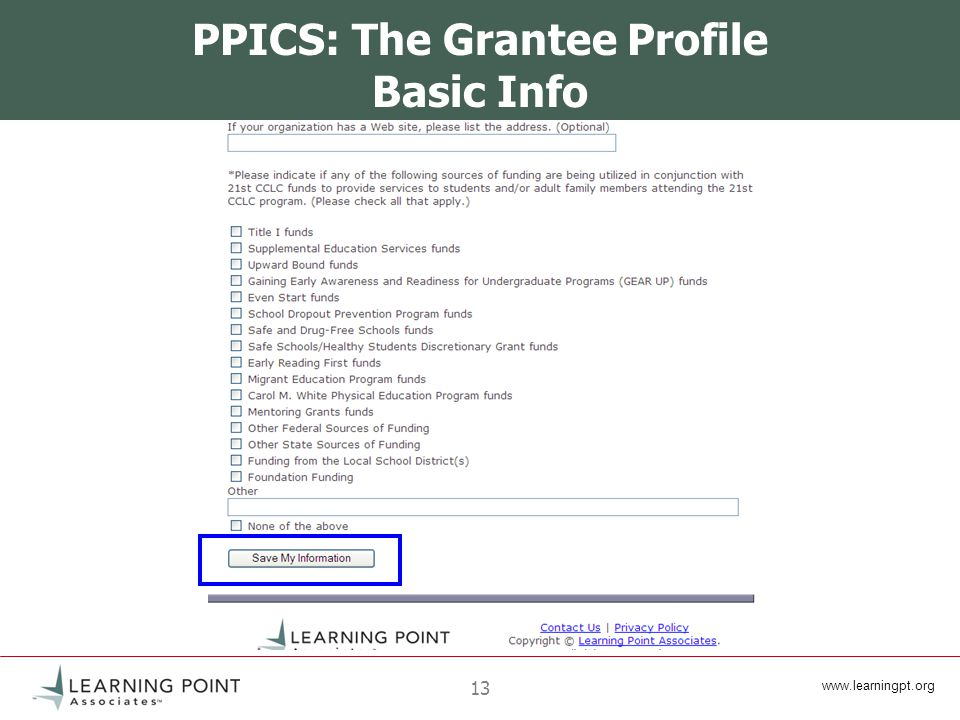 13 PPICS: The Grantee Profile Basic Info