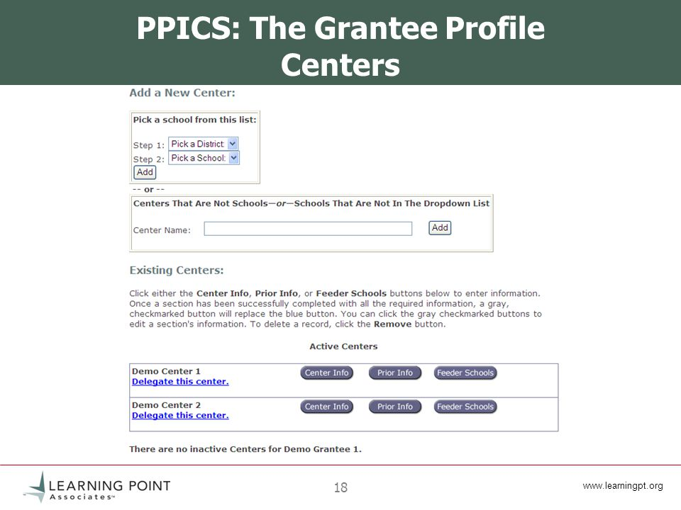 18 PPICS: The Grantee Profile Centers
