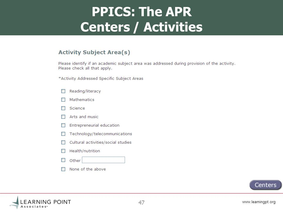 47 PPICS: The APR Centers / Activities