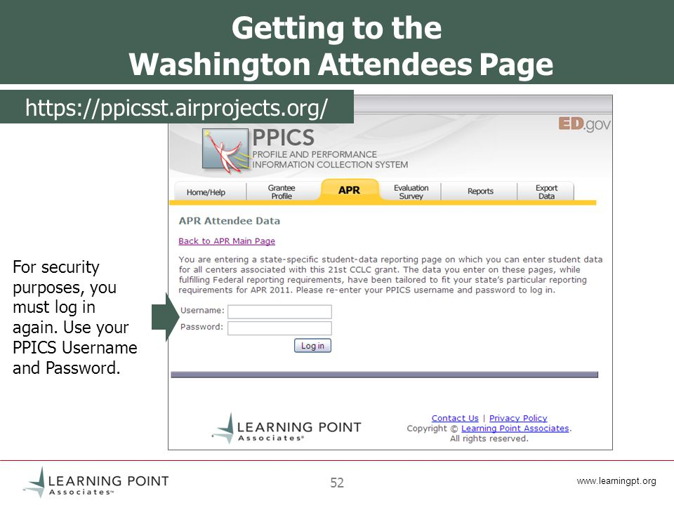 52 Getting to the Washington Attendees Page For security purposes, you must log in again.