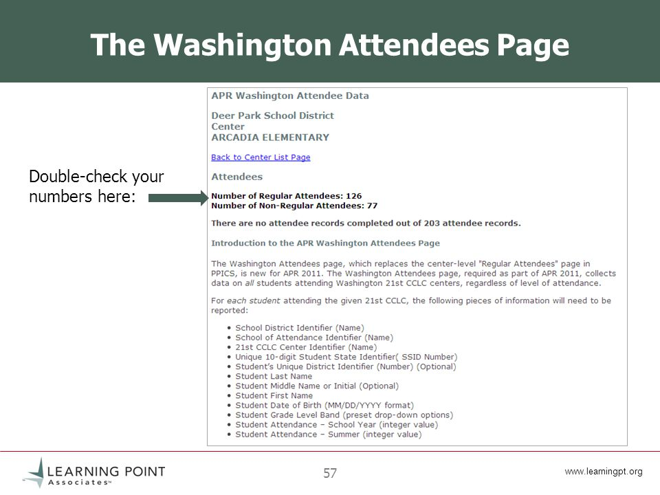 57 The Washington Attendees Page Double-check your numbers here: