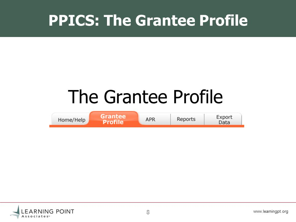 8 PPICS: The Grantee Profile The Grantee Profile